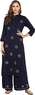 Janasya Indian Tunic Tops Rayon Kurti Set for Women