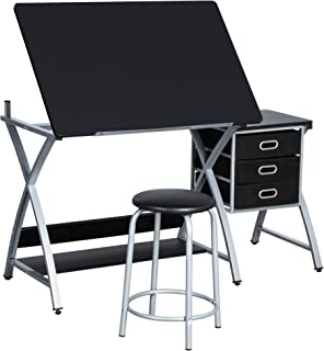 Yaheetech Adjustable/Folding Drafting/Drawing/Draft/Art/Craft Table/Desk with Stool and Storage Drawers Art Studio Design Craft Station