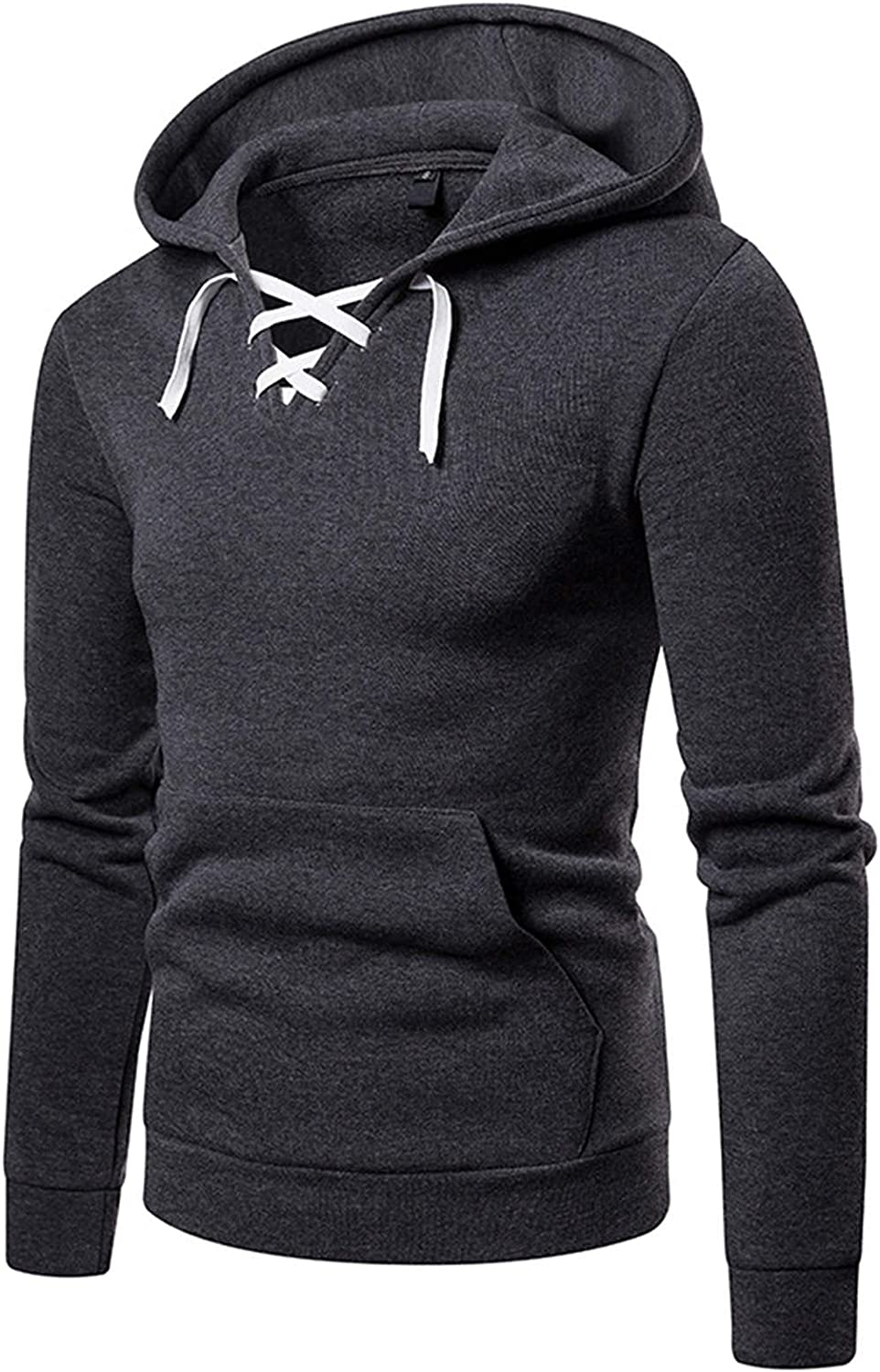 XXBR Hoodies for Mens, 2021 Fall Button Neck Lace-up Hooded Pullover Drawstring Slim Fit Workout Casual Sweatshirts