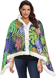 Flamingo Hibiscus Pineapple And Tropical Leaf Shawl Blanket Wrap Child Wearable Blanket 53x30 Inches With 3 Button For Sofa Outdoors Men Wearable Blanket Womens Wrap Shawl