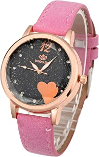 Top Plaza Womens Girls Leather Strap Rose Gold Case Analog Quartz Dress Watches Fashion Casual Heart Pattern Small Dial Wrist Watch