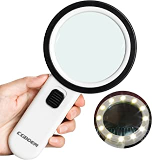 Magnifier Magnifying Glass with Light, 10X Handheld Lighted Led Magnifier with 12 LEDs Double Glass Lens for Seniors Reading, Coins, Stamps, Map,Jewelry, Inspection, Macular Degeneration