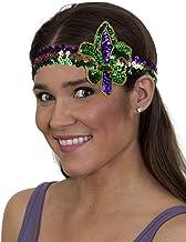 Jacobson Hat Company Unisex-Adult's Mardi Gras Fluer Di Lis Headband, Purple, Adjustable