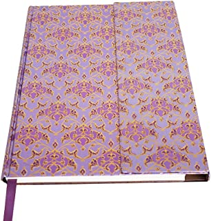 Retro Foil Notebook Journal Diary with Magnetic Closure Pen Loop and Expandable Pocket 192 Blank Pages Acid Free Sheets 6 X 8 Inches (Purple)