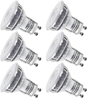 TORCHSTAR Dimmable LED MR16 GU10 Glass Spot Light Bulb, 5.3W (50W Equivalent), 5000K Daylight, 380 Lumens, UL and Energy Star Certified, 3 Year Warranty, Pack of 6