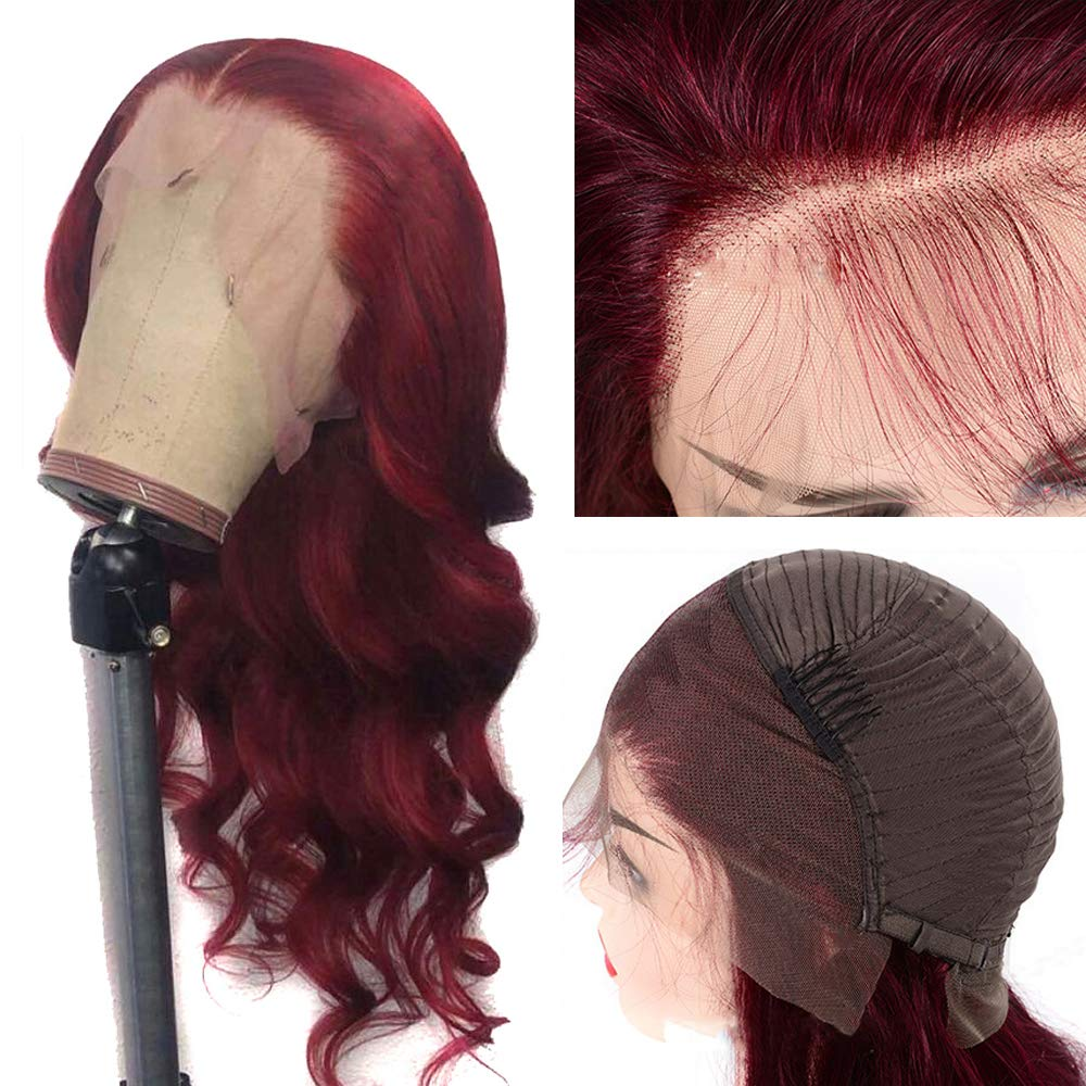 Oulaer Wig Burgundy 99J HD Invisible Human Hair 最安値に挑戦 Wigs 無料サンプルOK Front Lace