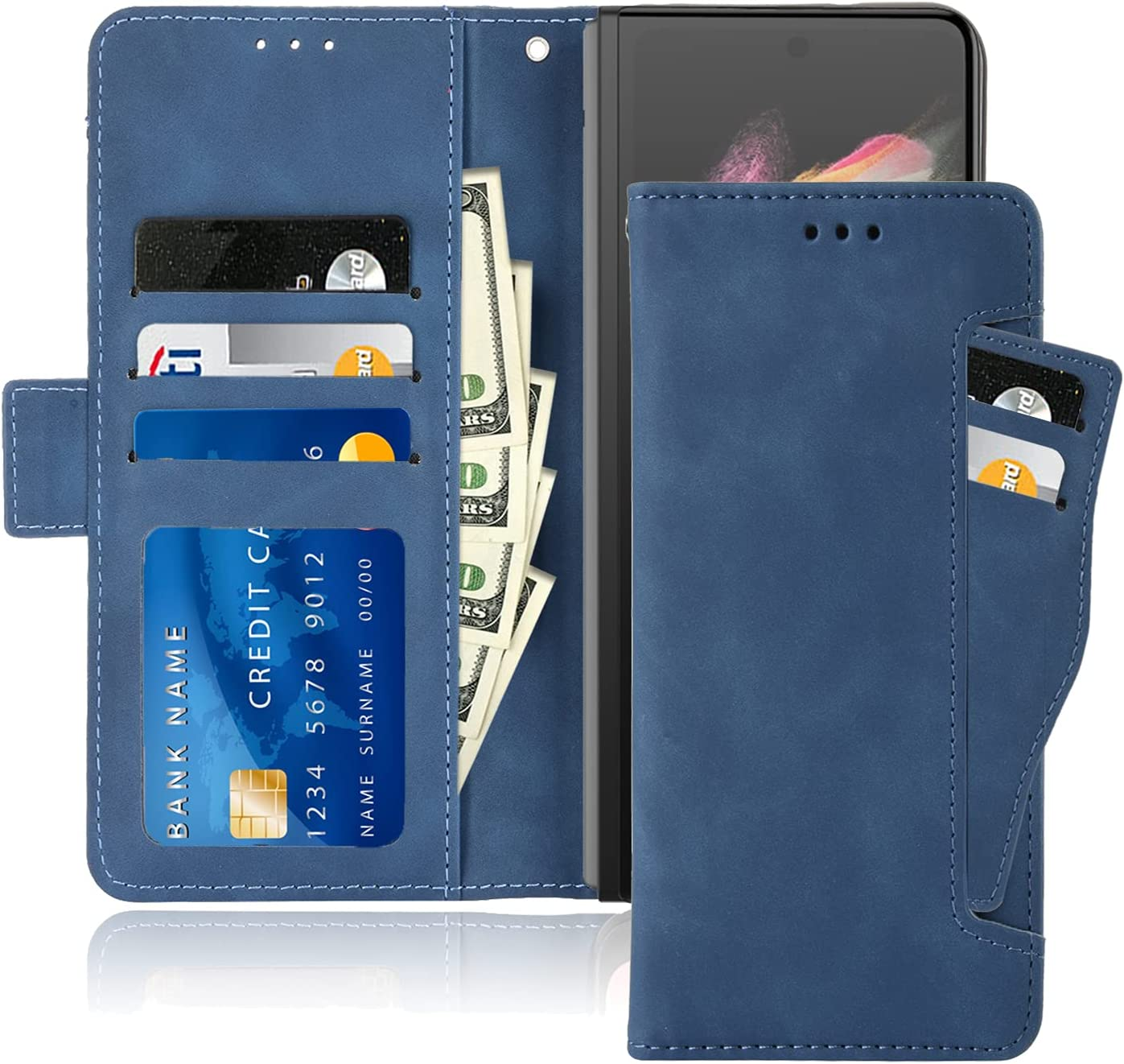 10 Cent Galaxy Z Fold 3 5G Case, Galaxy Z Fold 3 Wallet case, Classic Leather Wallet Foldable Case with Credit Card Holder Slots Flip Wallet Case for Samsung Galaxy ZFold3 5G(Blue)