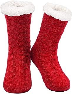SIMIYA Womens Winter Soft Warm Cozy Fuzzy Fleece Lining Non-skid Socks Christmas Gift Knit Slipper Socks(US Size 5-8)