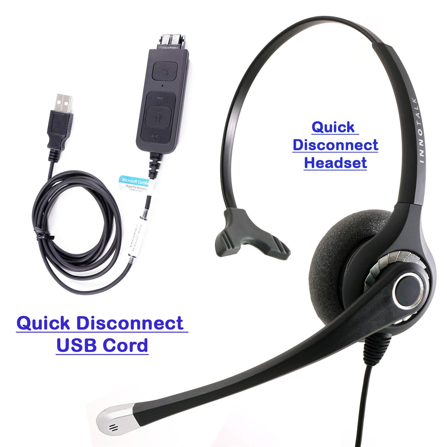 Amazon Com Voip Headset With Usb Headset Adapter For Softphones Bria X Lite Skype Best Sound Quality Noise Cancel Mic Monaural Headset Compatible With Jabra Qd Electronics