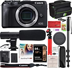 Canon EOS M6 Mark II 2 Mirrorless Digital Camera Body Only Black 3611C011 Bundle with Deco Gear Gadget Bag Case + Condenser Microphone + Monopod + 64GB Memory Card + Software & Accessories