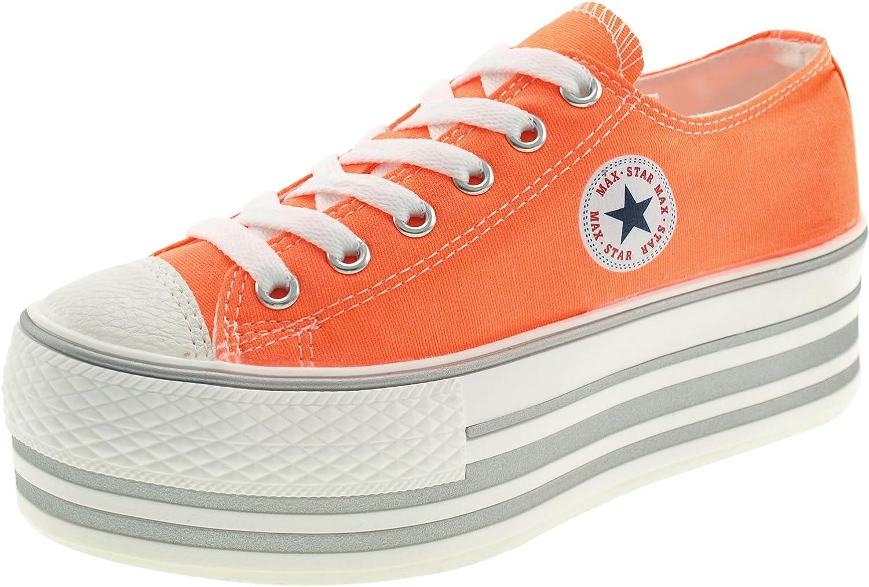 Maxstar Fluorescent color Low-top Platform Canvas Sneakers shoes