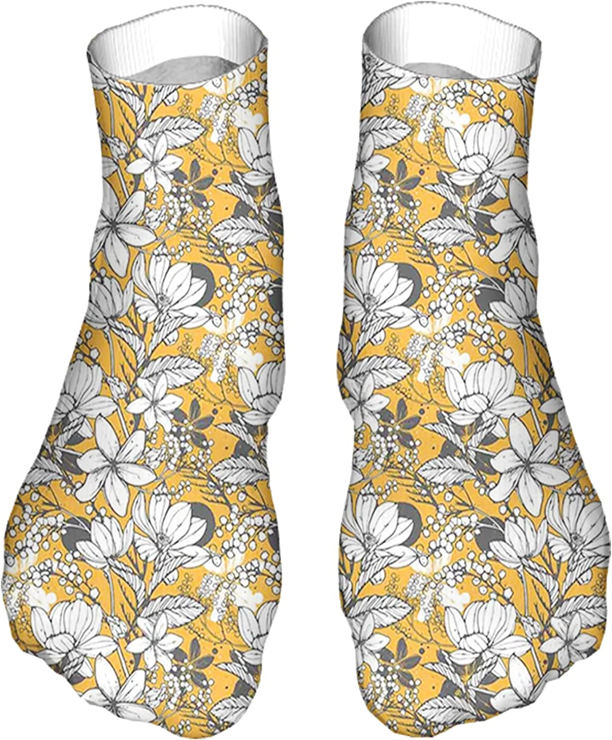 Men's and Women's Funny Casual Socks Hibiscus Plant Exotic Beach Island Theme with Tropical Sea