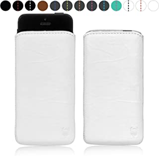 MediaDevil European Flip Handmade Full Grain Real Leather, White with White Stitching, Apple iPhone 5/5S