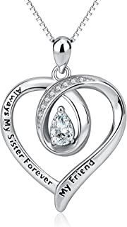 """Sister Necklaces""""Always My Sister Forever My Friend"""" 925 Sterling Silver Infinity Love Heart Pendant Necklace Jewellery Birthday Gift Friend Girls"""