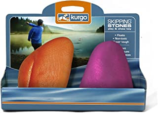 Kurgo Skipping Stones, Chew-Resistant Rubber Dog Toy, Pack of 2, Floats on Water, Assorted Colours