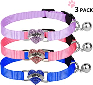 Basuppit Breakaway Cat Collar Soft Nylon Safe Adjustable Collars with Bell and Heart Bling 3Pcs
