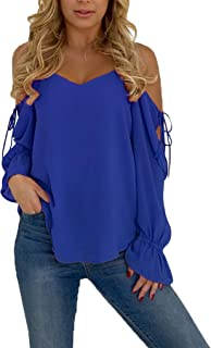 Blibea Womens Sexy Long Sleeve Spaghetti Strap Cold Shoulder Tops and Blouse