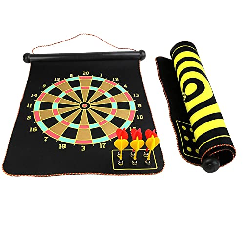 """Gankarii Set 15"""" Safety Board Game Roll up Two Sided Reversible Bullseye Target Magnetic Dartboard with 6 Darts for Kids"""