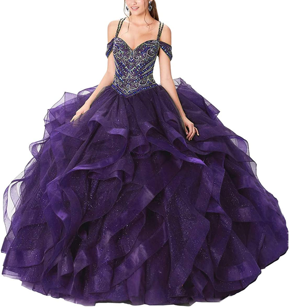 Women's Off New item The Shoulder Heavy OFFicial site Dresse Organza Beaded Quinceanera
