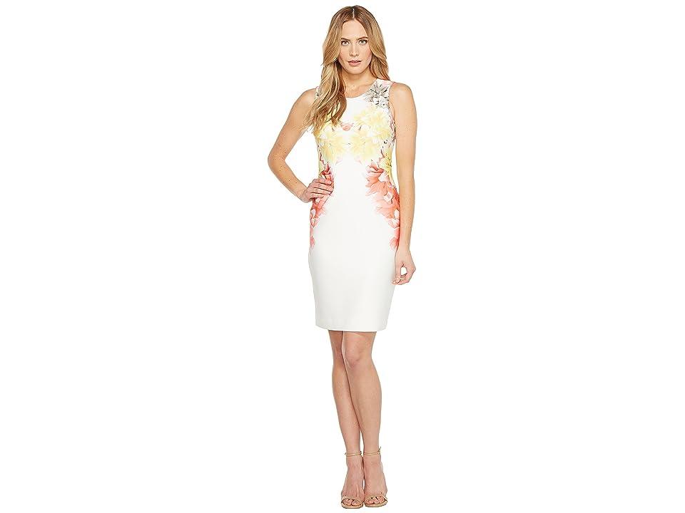 Calvin Klein Scuba Sheath Dress (Porcelain Rose Combo) Women
