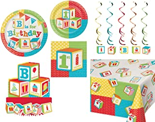 1st Birthday ABC Blocks Party Tableware and Decorations: Bundle Includes Plates & Napkins for 16 People Plus a Table Cover, Centerpiece, and Danglers