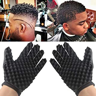 TureLaugh Curl Hair Sponge Gloves(1pair), Barbers Wave Black Twist Brush Styling Tool Curly Hair Care Dreads Afro Locs Twist Dreadlocks Coil for Men and Women