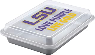 LSU Tigers 47932 College Kitchen Nonstick Baking Pan With Lid / Nonstick Cake Pan With Lid, Rectangle, LSU Tigers - 9 Inch x 13 Inch, Gray
