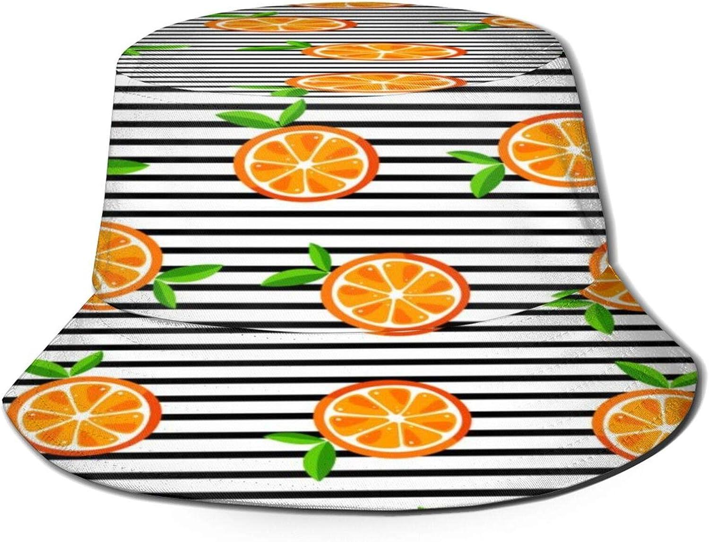 Orange Pattern with Black and White Stripes Bucket Hat Unisex Sun Hat Summer Packable Fisherman Hats Black
