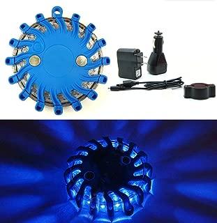 Rechargeable Portable Traffic Emergency Warning Light Roadside Flares Beacon Safety Strobe Light Signal Alert SOS Magnetic Base Waterproof (Blue)