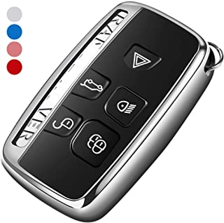 Uxinuo Compatible with Range Rover Key Fob Cover Case Premium Soft TPU Key Fob Case for Defender Discovery Sport LR4 Range Rover Sport and Jaguar XF XJ XJL XE F-PACE Jaguar 5-Buttons Silver