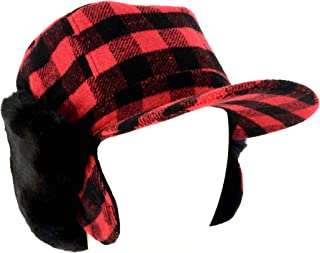 surell Genuine Red Plaid Trapper Faux Fur Aviator Hat - Warm Bomber Trooper Hat - Perfect Winter Luxury Gift