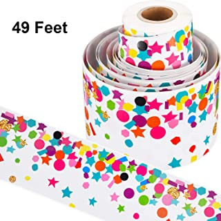 49 Feet Bulletin Board Borders School Themed Decorative Stickers Confetti Teaching Press Border for School Classroom Display Decoration (Color 2)