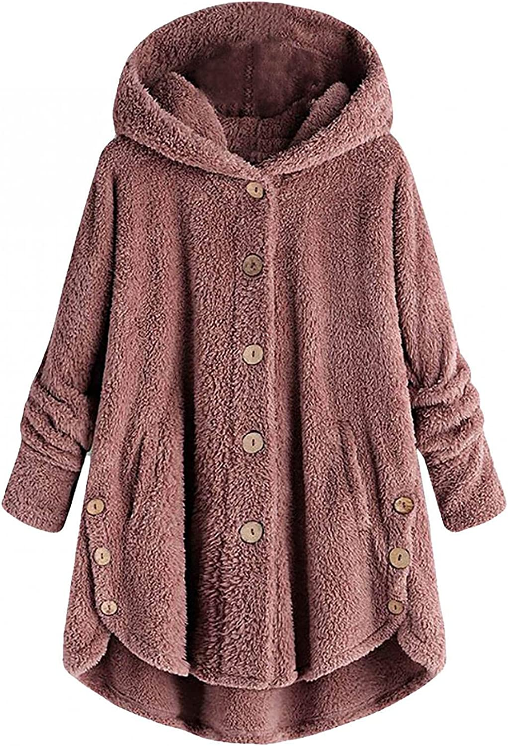 Thick Fleece Jacket Women Button Coats Patchworl Tops Hooded Pullover Loose Sweater Overcoat Plus Size Trench Outwear