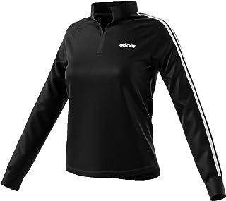 Adidas Women's Essentials 1/4 Zip Fleece Tracktop, Black/White, M