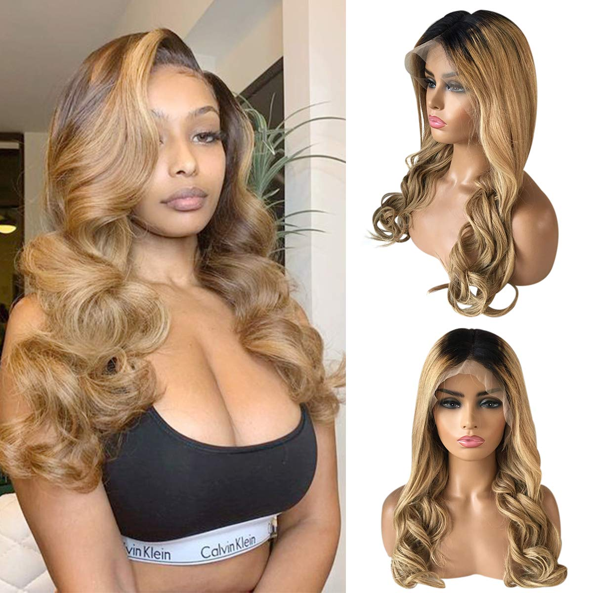 Wave Human Hair Lace Max 68% OFF Front Frontal Ombre 13x4 Product Colored Wigs