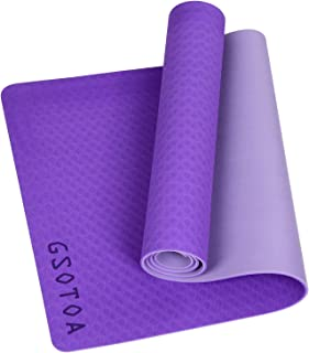 GSOTOA Upgraded Textured Non-Slip Yoga Mat with Bag Lanyard Knitted Headband, Phthalate-Free Skin-Friendly Exercise Mat an...