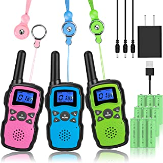 Wishouse Rechargeable Walkie Talkies for Kids with Charger Battery, Two Way Radio Family Talkabout for Adult Long Range, Outdoor Camping Hiking Halloween Fun Toys Birthday Gift for Girls Boys 3 Pack