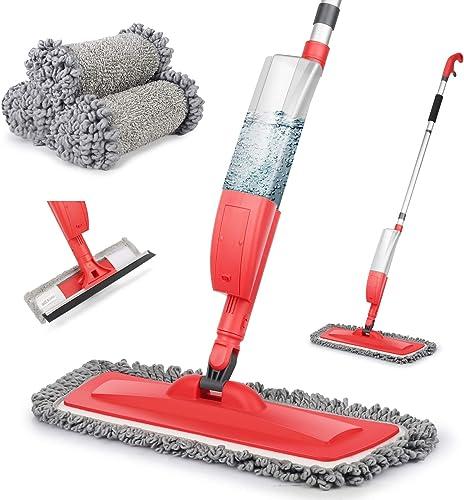 Balais Serpillère, Bellababy Spray Mop avec 3 Tampons de Vadrouille de Rechange, Balai Plat pour la Maison, la Cuisin...