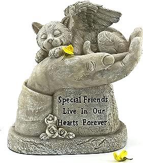 Bellaa 22892 God's Hands Cat Pet Grave Memorial Outdoor Garden Statue 8 Inch Antique Stone Sympathy Sleeping