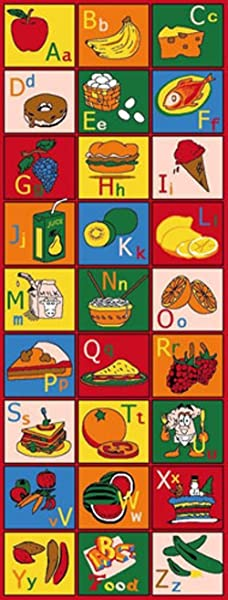 Kids Baby Room Daycare Classroom Playroom Area Rug ABC Foods Educational Fun Bright Colorful Vibrant Colors 2 X 7 Runner