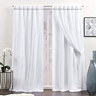 Sponsored Ad - Exclusive Home Curtains Brilliance Room Darkening Blackout Hidden Tab Top Curtain Panels, 52x84, White