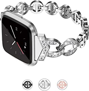 Bling Strap Compatible with Fitbit Versa/Versa 2/Versa Lite & Special Edition Bands for Women Stainless Steel Metal Replacement Bracelet with Diamonds Wristband Accessories