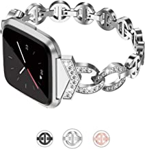 TOYOUTHS Bling Strap Compatible with Fitbit Versa/Versa 2/Versa Lite & Special Edition Bands for Women Stainless Steel Metal Replacement Bracelet with Diamonds Wristband Accessories