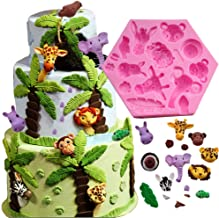 Fewo Forest Woodland Animals Fondant Cake Decorating Molds Wild Zoo Silicone Mold for Chocolate Candy Gum Paste Clay Sugar Craft Cupcake Topper Supplies (Elephant Lion Giraffe Monkey Zebra Hippo)