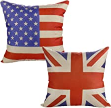 Luxbon Set of 2Pcs Union Jack Flag & American Flag Cotton Linen Sofa Couch Chair Throw Pillow Cases Decorative Cushion Covers Flag Lover Gift 18x18