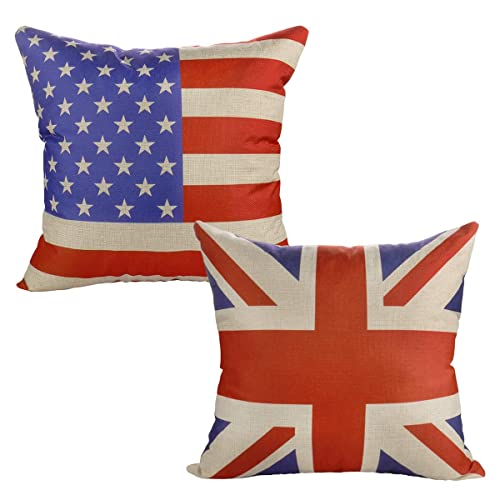 Luxbon Set of 2Pcs Union Jack Flag & American Flag Cotton Linen Sofa Couch Chair Throw