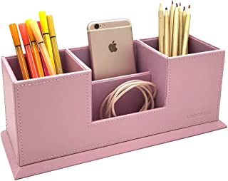 UnionBasic 4 Compartment Desk Organizer - Dual Pen Holder - Card/Pen/Pencil/Mobile Phone Office Supplies Holder (Pink)