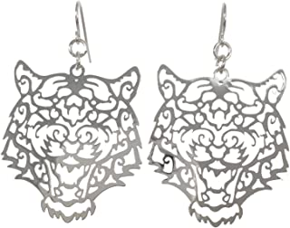 Gypsy Jewels Laser Cut Tiger Face Open Thin Filigree Swirl Dangle Drop Earrings