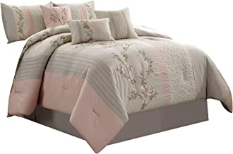 Chezmoi Collection Linnea 7-Piece Luxury Cherry Blossom Floral Embroidery Bedding Comforter Set, Full, Blush/Neutral/Light...