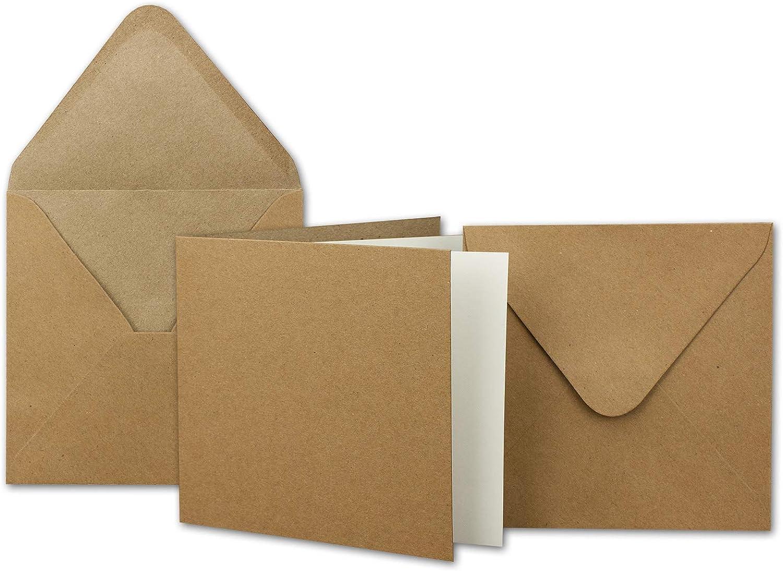 1000x Kraftpapier-Karten Set quadratisch 13,5 x 13,5 cm mit Brief-Umschlägen & Einlege-Blätter - Recycling Vintage Karten-Set - für Einladungen B07KB7DYXB    | Bekannt für seine hervorragende Qualität